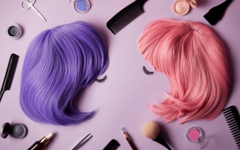 pink and purple wigs